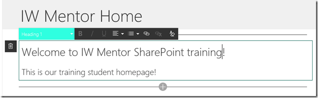 SharePoint modern page - text web part
