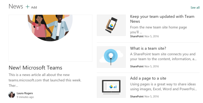 SharePoint news headlines web part
