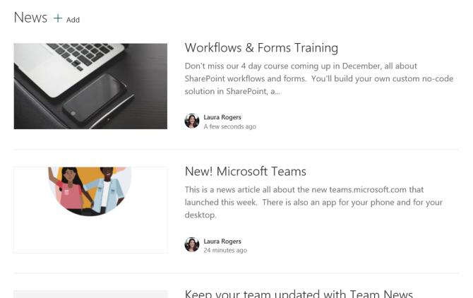 SharePoint News List Web Part