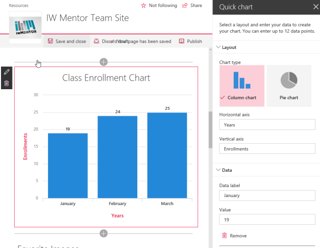 SharePoint modern page quick chart web part
