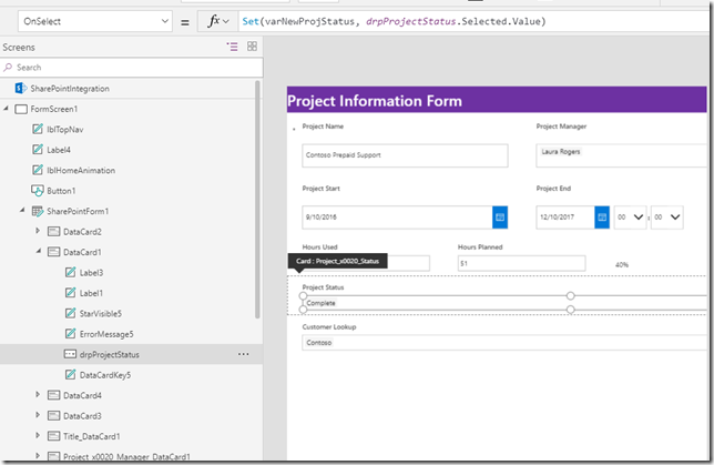 powerapps-project-status-onselect