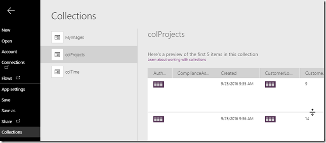 powerapps-collect-clearcollect-projects