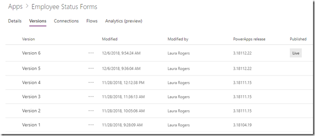 powerapps-app-versions
