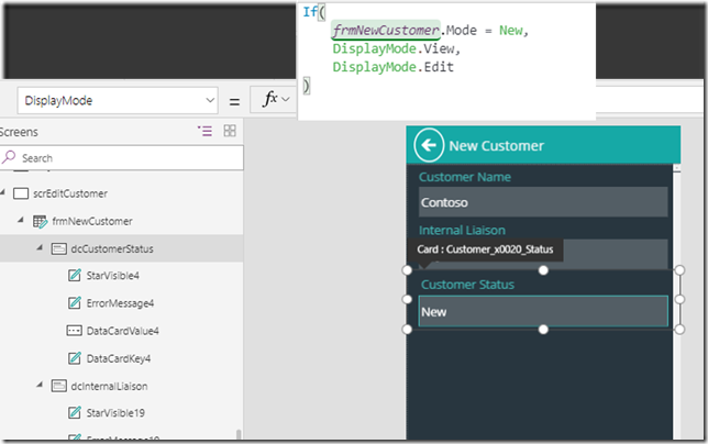 powerapps-new-customer-form-formula