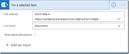 sharepoint-for-selected-item-trigger