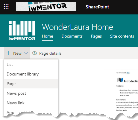 sharepoint-new-page-button